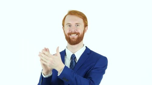 Clapping Red Hair Beard Businessman