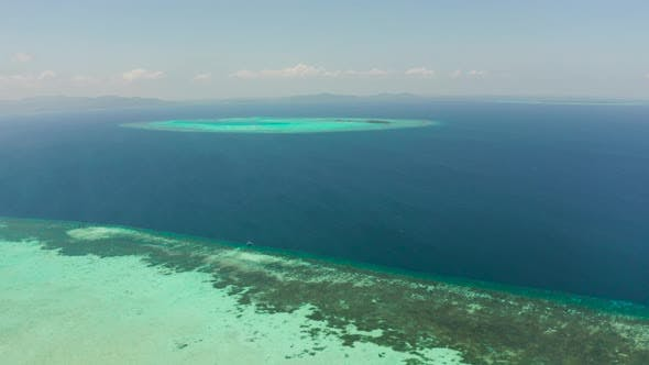 Seascape with Coral Reef and Atoll in the Blue Sea Balabac, Palawan, Philippines