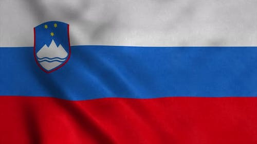 Flag of the Republic of Slovenia Waving in Wind