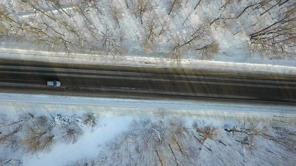 Thumbnail for Car On Winter Forest Road