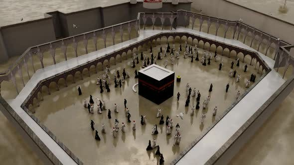 Top View of Muslims Tawaf Kaaba in Rainy Weather