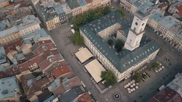 Thumbnail for Aerial Drone Footage of European City Lviv, Ukraine. Flight Above Popular Ancient Part of Old Town