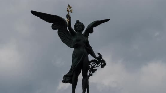 Timelapse of an angel statue
