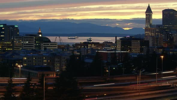 Thumbnail for Hdr Cityscape Time Lapse Seattle Downtown Waterfront Mountain View