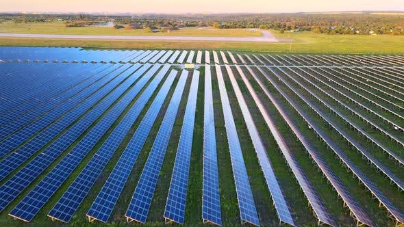 Thumbnail for Aerial View of Large Solar Panels at a Solar Farm at Bright Summer Sunset, Solar Cell Power Plants