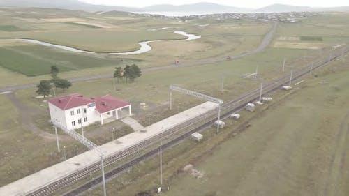 Samtskhe-Javakheti, Georgia - August 20 2021: Aerial view of Pokani railway station