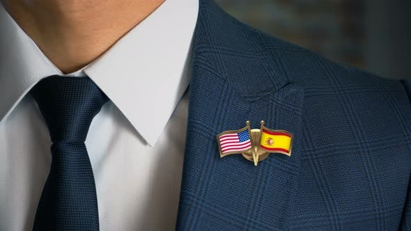 Thumbnail for Businessman Friend Flags Pin United States Of America Spain
