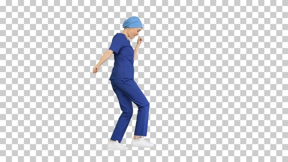 Girl doctor is dancing and walking, Alpha Channel