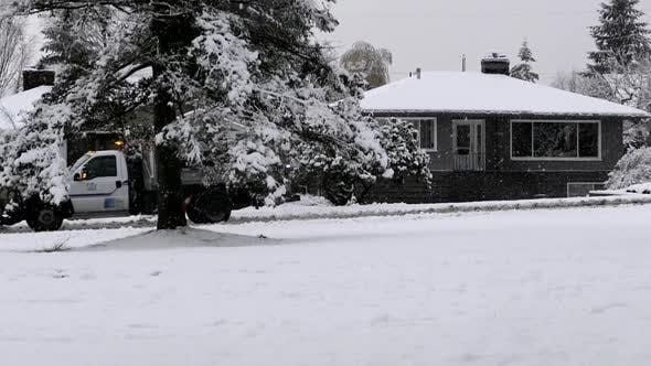 Thumbnail for Winter Village - Snowy Street - House, Tree, Road, Car