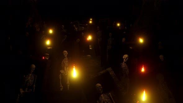 Thumbnail for Dark Night In Cave Horror Skeleton 02 4K