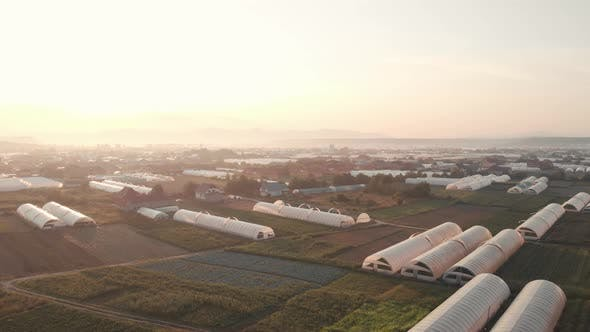 Aerial View of Agricultural Field with Greenhouses