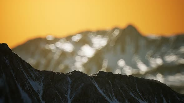 Thumbnail for Winter Landscape in Mountains at Sunset