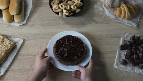 Thumbnail for Fat Man Putting Plate with Sweet Chocolate Cake on Table, Risk of Diabetes