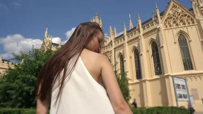 Lady Against the Grand Gothic Castle