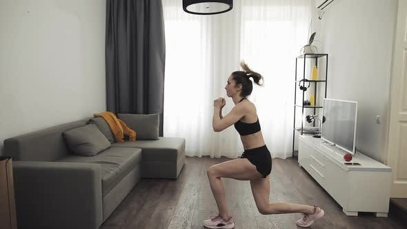 Thumbnail for Young Woman Doing Fitness Workout for Healthy Lifestyle at Home