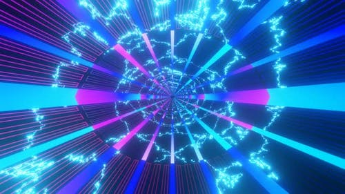Looped Abstract Hightech Tunnel with Neon Lights