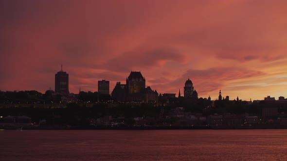 Thumbnail for Quebec City skyline, at sunset