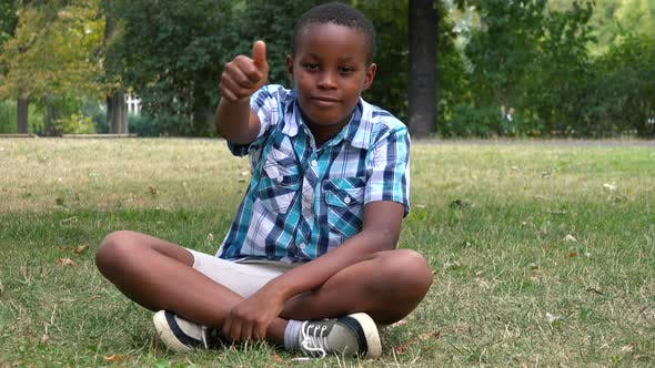 Thumbnail for A Young  Black Boy Sits on Grass in a Park and Shows a Thumb Up To the Camera with a Smile