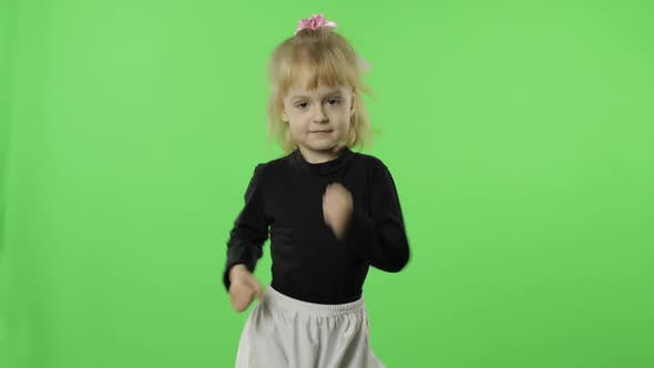 Thumbnail for Girl in Black and White Dress Dancing, Happy Four Years Old Child, Chroma Key