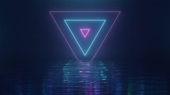 Thumbnail for Shining Pink-blue Neon Triangles Over Water