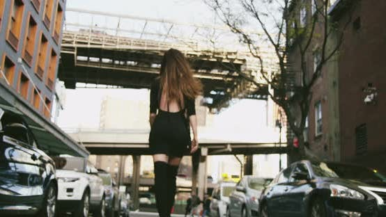 Thumbnail for Young Woman Legs in Fashion Boots Walking Nyc Streets 08