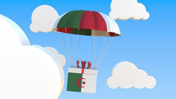 Box with Flag of Algeria Falls with a Parachute