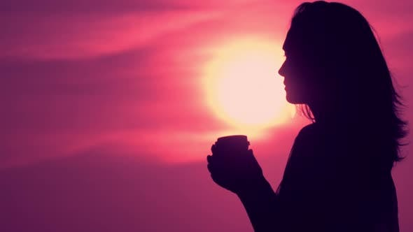 Thumbnail for Profile Silhouette Girl Drinking Tea Outdoors