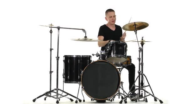 Thumbnail for Energetic Professional Musician Plays Good Music on Drums. White Background