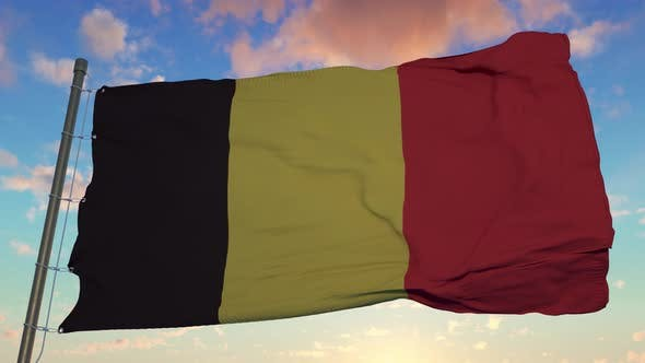 National Belgium Flag Fluttering in the Wind