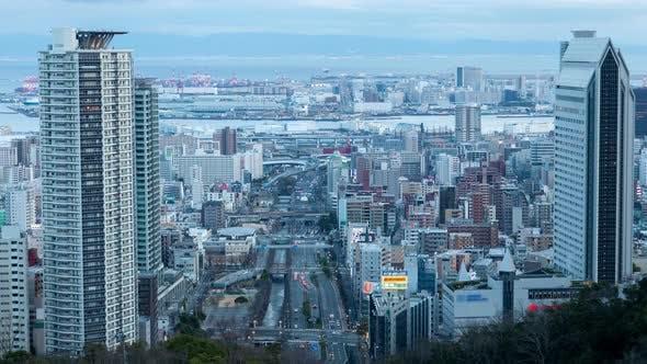 Kobe Skyscraper Tower City Roads Traffic Japan