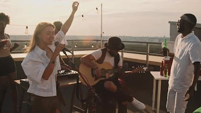 Band Performing at Rooftop Party