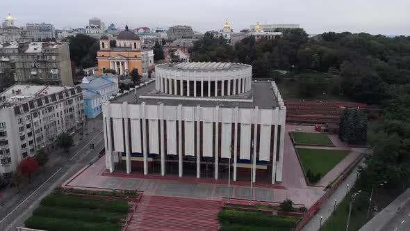 Ukrainian House on the European Square in Kyiv. Ukraine. Aerial View