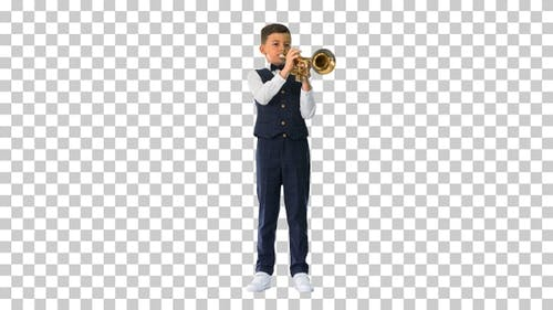 Little boy in a bow tie playing the trumpet, Alpha Channel