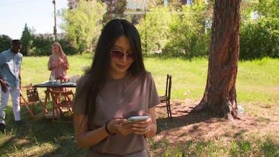 Asian Woman Surfing Internet