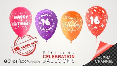 Ballons de fête du 16e anniversaire/16 ans