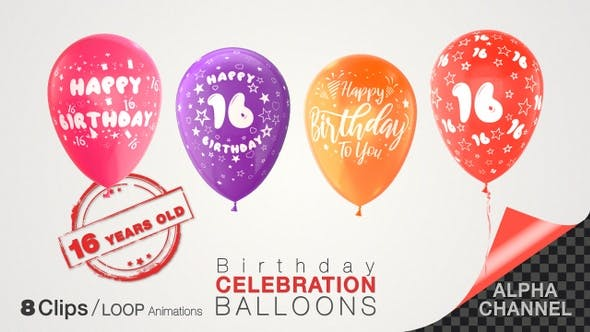 Thumbnail for 16th Birthday Celebration Balloons / Sixteen Years Old