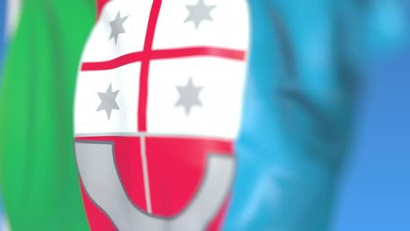 Flying Flag of Liguria a Region of Italy