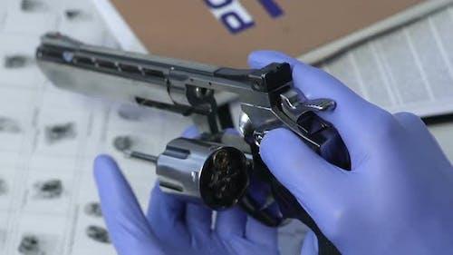 Forensic Scientist Checking Killer Gun Caliber, Crime Research Investigation