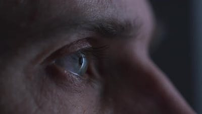 Close up of focused eyes