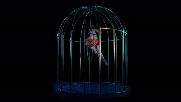 Thumbnail for Gymnast Spinning on a Hoop in a Cage. Black Background