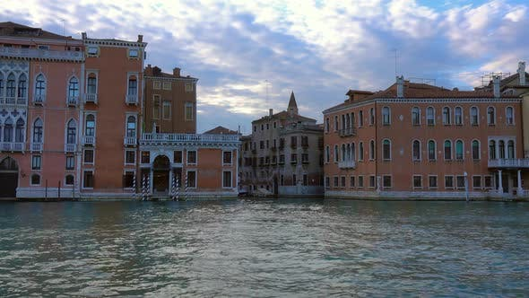 Thumbnail for Old Houses on Canal Grande in Venice at Evening