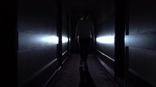 Woman Silhouette Walks In The Dark