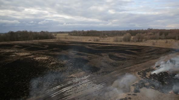 Thumbnail for Aerial View of Dry Grass Burning on the Farmland