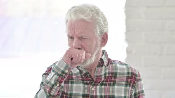 Portrait of Sick Casual Old Man Coughing