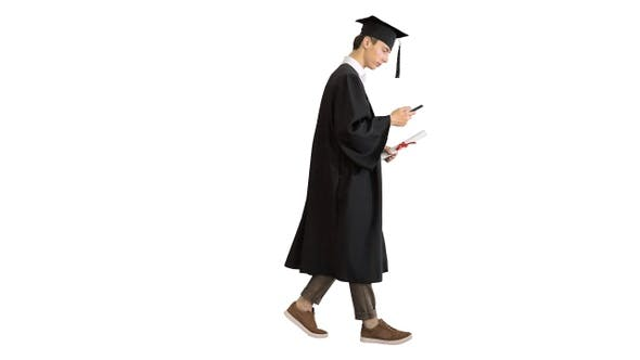 Thumbnail for Graduation: Happy Student Walking and Texting on His Phone