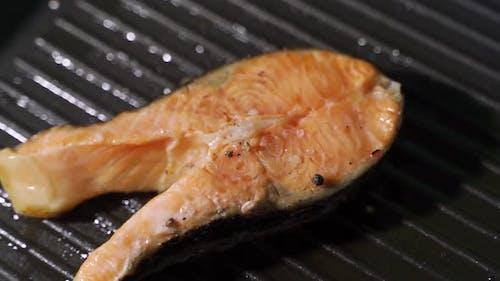Pan-fried Salmon. Cooking Salmon in a Pan.