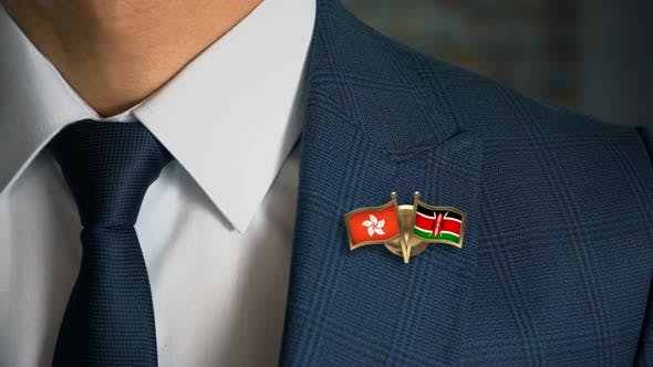 Thumbnail for Businessman Friend Flags Pin Hong Kong Kenya
