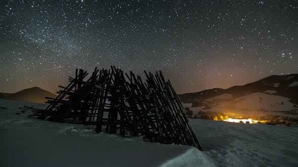 Thumbnail for Stars with Milky Way over Rural Country in Winter