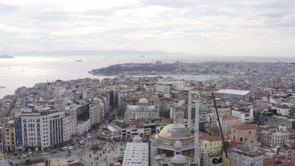 Thumbnail for Istanbul Taksim Square And Mosque Construction Aerial View 2