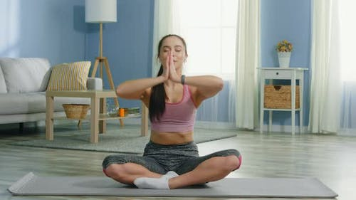 Young Woman Is Training Mindfulness